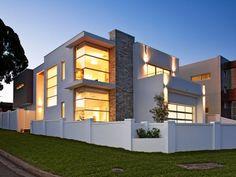 Concrete modern house exterior with balcony & decorative lighting - House Facade photo 255834