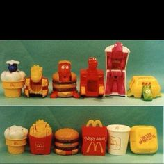 Old McDonald's toys. I had several of these. I loved the chicken nuggets turtle on the right.  toys suck nowadays.