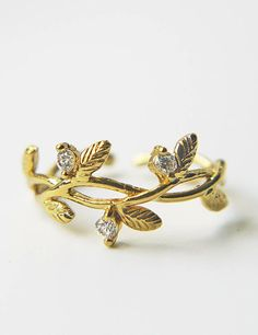 Branch Leaves Adjustable Ring