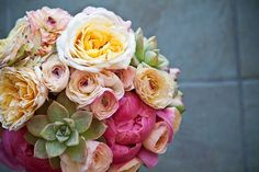 from adornments san diego #gardenroses #succulents #peonies