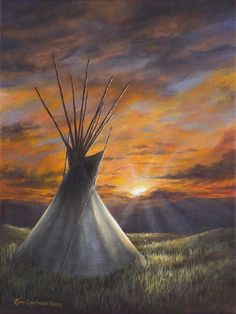 Prairie Sunset Acrylic Print by Kim Lockman. All acrylic prints are professionally printed, packaged, and shipped within 3 - 4 business days and delivered ready-to-hang on your wall. Choose from multiple sizes and mounting options. Native American Teepee, Native American Print, Native American Paintings, American Indian Art, Acrilic Paintings, Acrylic Painting Canvas, Canvas Art, Art Paintings, Painting Art