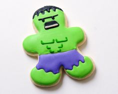 The Hulk Sugar Cookies by guiltyconfections on Etsy, $21.00 - Make for take home treats
