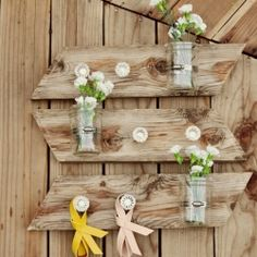 Do it yourself wall piece with mason jars and hooks for anything you please!
