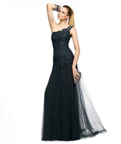 Pronovias presents the Zodiaco cocktail dress from the Long 2013 collection. Black bridesmaids dress