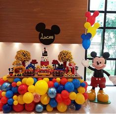 Mickey Mouse Birthday Decorations, Mickey Mouse 1st Birthday, Mickey Mouse Clubhouse Party, Baby Mickey, Mickey Party, Baby First Birthday Cake, Happy Birthday Boy, Second Birthday Ideas, Birthday Party Tables