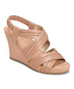 This Light Pink Apple Plush Leather Sandal by Aerosoles is perfect! #zulilyfinds