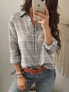 6669b7fae8921 Gray plaid shirt for women long sleeve lace up front top