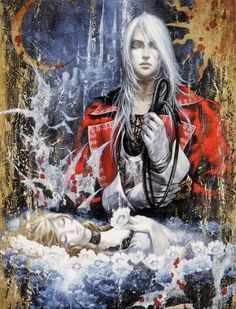 "Juste Belmont and Lydie, from ""Castlevania: Harmony of Dissonance,"" released by Konami for the Nintendo Game Boy Advance in 2002. by Ayami Kojima"