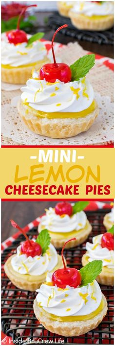 Mini Lemon Cheesecake Pies - sweet little hand held pies filled with a cheesecake and lemon pie filling swirl.  Great dessert recipe for spring parties!