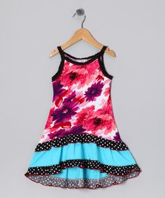 Pink & Blue Floral Ruffle #Dress from White Lace on #zulily