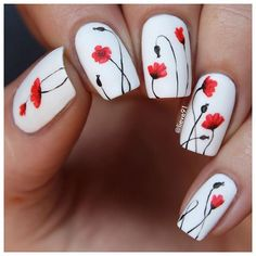 My new nails for today!! Inspired by a beautiful painting I saw on Pinterestheart Base white polish is by @essence_cosmetics and the poppy flowers are hand drawn with Pebeo acrylic paintsrelaxed Matte top coat by @opi_products heart Have a great weekend!!kissing_heart