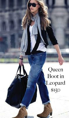 How to wear our booties! A lot of customers have asked us this question in the stores! All month long, we will be posting  outift inspiration photos of how you can wear them!  Queen Boot in leopard $150