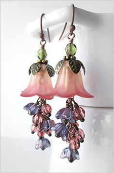 Romantic peach and rose pink flower earrings for a garden wedding, spring wedding, or gift for a nature lover or gardener.