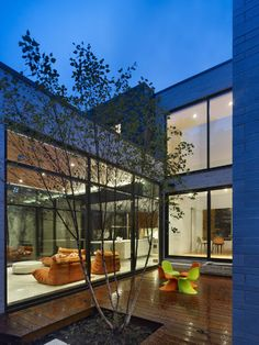 Modern House Design: Cedarvale Ravine House in Toronto, Canada: Fascinating House In Toronto Terrace With Tiny Colorful Chairs