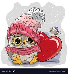 Illustration about Cute Cartoon Owl in a knitted cap and a heart. Illustration of holidays, greeting, cartoons - 79722027 Owl Cartoon, Cute Cartoon, Cartoon Mignon, Dibujos Cute, Owl Art, Cute Owl, Creative Activities, Diy Painting, Cute Drawings