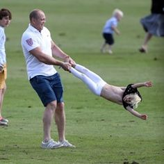 Mike Tindall plays with daughter Mia and the children of his brother in law in Beaufort, UK