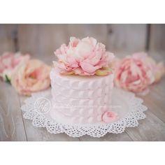 Wedding Cake. Pink Peonies. Rustic. Romantic. Simple. Spring. Photo by Heidi Hope Photography. #VillageIndulgence @KerriCupake on Instagram