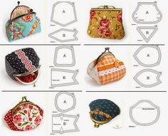 Interlining and patchwork: Purses Coin Purse Pattern, Coin Purse Tutorial, Wallet Pattern, Purse Patterns, Bag Quilt, Frame Purse, Couture Sewing, Beaded Purses, Quilted Bag