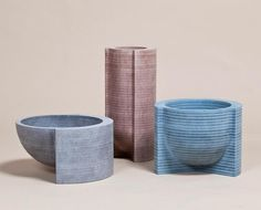 Vessels made from lathe-turned MDF stacks by Philippe Malouin