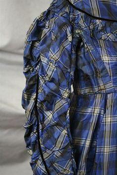Civil War Era Plaid Silk Taffeta High Waist Dress Pleated Back Pewter Buttons | eBay