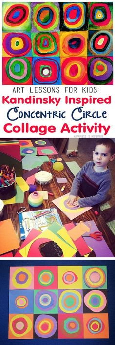 """Kids Art Lesson - Concentric Circles Collage inspired by Wassily Kandinsky's famous """"Farbstudie Quadrate"""" (Squares with Concentric Circles/Rings) - great for homeschool art teachers!"""