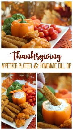 This Thanksgiving Appetizer platter with homemade cool dill dip comes together in about 20 minutes! An orange bell pepper resembles a pumpkin to make this offering even more festive. Thanksgiving Platter, Thanksgiving Food Crafts, Traditional Thanksgiving Recipes, Stuffing Recipes For Thanksgiving, Thanksgiving Appetizers, Frozen Appetizers, Yummy Appetizers, Appetizers For Party, Homemade Onion Dip