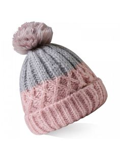 40d36367ccd Women s Winter Hand Knit Pompoms Beanie Hat Ski Cap - Grey Pink -  CH17YZ239IU