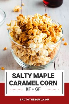 Make this salted maple popcorn for your next movie night! Dairy free and gluten free with a slightly salty maple crunch. #popcorn Dairy Free Cheesecake, Dairy Free Brownies, Dairy Free Cookies, Gluten Free Cupcakes, Dairy Free Appetizers, Dairy Free Snacks, Easy Gluten Free Desserts, Vegan Gluten Free, Yummy Vegan Snacks