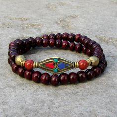 New style! Genuine Rosewood 54 bead wrap bracelet #mala #rosewood #yoga #jewelry…