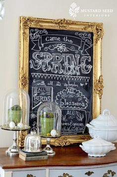 Mona- paint & embellish old frames from thrift stores with vintage gold. Spray paint over picture glass with chalk paint. Use chalk to write Vicki's favorite wedding day sayings. Fill large wine bottles with pea gravel to prop up along mansion walkways. Blackboard Paint, Framed Chalkboard, Chalkboard Writing, Chalkboard Lettering, Blackboard Menu, Small Chalkboard, Lettering Ideas, Chalk It Up, Chalk Art