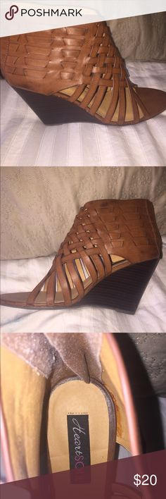 New HeartSoul leather wedges. Cognac/tan, brand new leather wedges. Size 9. Never worn. No trades, sorry. HeartSoul Shoes Wedges