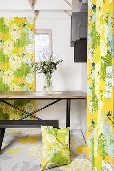 Sinilintu curtains, bag and Pompula rug by Tanja Orsjoki