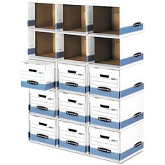 Bankers Box File / Cube Box Shell, Legal / Letter, White and Blue, 6 Shells