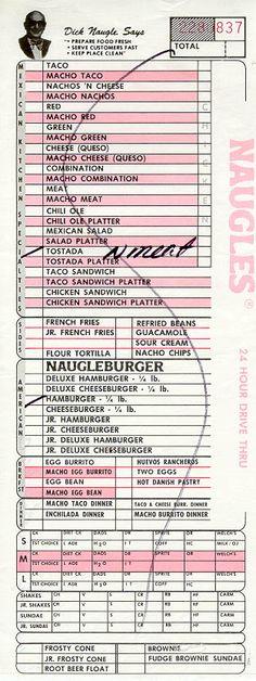 Naugles Order Slip 1982