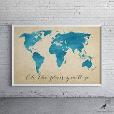 World Map Print, Watercolor Map, Oh the places you'll go, Inspirational Art, Nursery Decor, World Map Poster, Map Art, Nursery Art