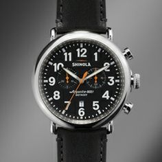 The Runwell Chrono 47mm black leather strap chronograph watch with black dial features the Argonite 5021 quartz movement that drives the hours, minutes, small seconds, date indicator and stopwatch function with one subdial.
