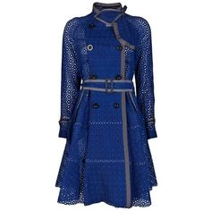 Versace Blue Raccoontrimmed Leather and Herringbone Coat