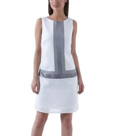 £36.00 Linen mix graphic dress white - Promod