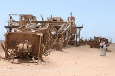 Abandoned oil rig in the desert, Skeleton Coast, near Toscanini ...