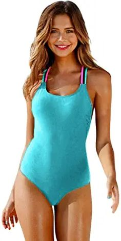 Amazon.com : teen swimsuits for teenagers girls one piece One Peice Bathing Suits, Women's One Piece Swimsuits, Plus Size Swimsuits, One Piece Suit, Women Swimsuits, Tankini, Monokini Swimsuits, Bikini Swimwear, Summer Swimwear