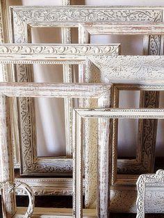Empty Picture Frame Set Of 9 Antique White by SeaLoveAndSalt