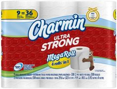 Charmin Ultra Strong Toilet Paper 9 Mega Rolls = 36 Regular Rolls - Charmin Ultra Strong Toilet Paper 9 Mega Rolls = 36 Regular Rolls Use less with Charmin Ultra Strong bath tissue! Charmin Ultra Strong 2-ply bath tissue is 4X stronger* when wet. Which means you can be confident your family is getting clean, while still using less. How much less? Charmin Ultra... - http://ehowsuperstore.com/bestbrandsales/health-personal-care/charmin-ultra-strong-toilet-paper-9-mega-rolls-36-