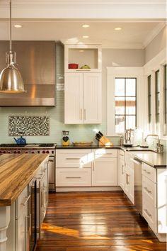 kitchen design ideas - white cupboards, dark countertop, butcher block island! Looks like my future kitchen...almost ;)