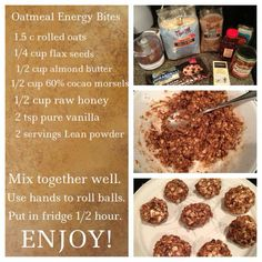 No Bake Energy Bites - 44 Calorie Xyngular Lean Protein - All Natural Ingredients - Delicious PreWorkout Energy Follow our Team Health & Wellness & Motivation Page: https://m.facebook.com/profile.php?id=295851077285095&ref=bookmark Get started on your journey to A New You in Just 8 Days Here: www.xyngular.com/TeamTnT www.xyngular.com/TeamTnT