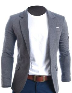 Mens Slim Fit Casual Premium Blazer Jacket - looks so wonderful with blue jeans and crisp white t-shirt!: