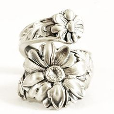 Daisy Ring Sterling Silver Spoon Ring Boho Ring by Spoonier