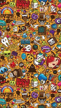 Pin by cienna fourstar on cellphone wallpapers in 2019 обои Sticker Bomb Wallpaper, Graffiti Wallpaper Iphone, Crazy Wallpaper, Pop Art Wallpaper, Trippy Wallpaper, Galaxy Wallpaper, Shane West, Graffiti Doodles, Graffiti Drawing