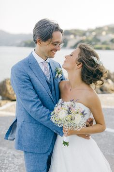 After ceremony bride and groom portrait next to the water while an Old World micro wedding in Corfu Island Corfu Wedding, Greece Wedding, Celine, Corfu Island, Island Weddings, Greek Islands, Old World, Hair Makeup, Groom