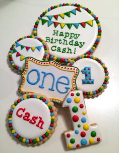 First birthday cookies and cake top
