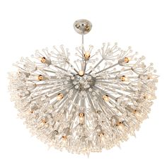 Monumental polished nickel half starburst chandelier with lucite and glass stars and flowers by Emil Stejnar.